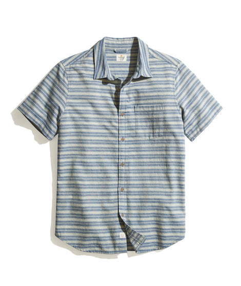 Classic Fit Short Sleeve Indigo Stripe Shirt in Natural/Blue Stripe
