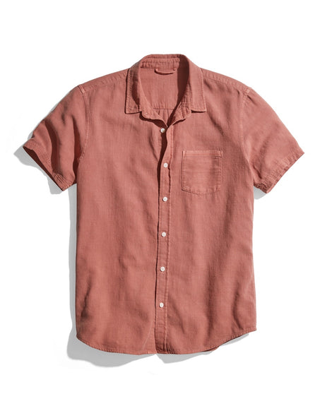 Classic Fit Short Sleeve Selvage Shirt in Faded Auburn