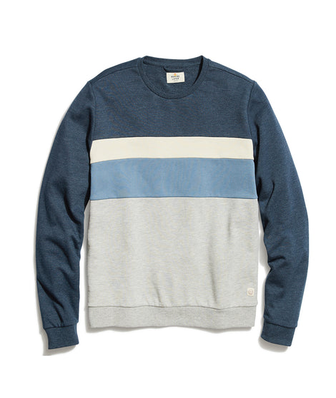Colorblock Crewneck Sweatshirt in Navy/Natural/Grey