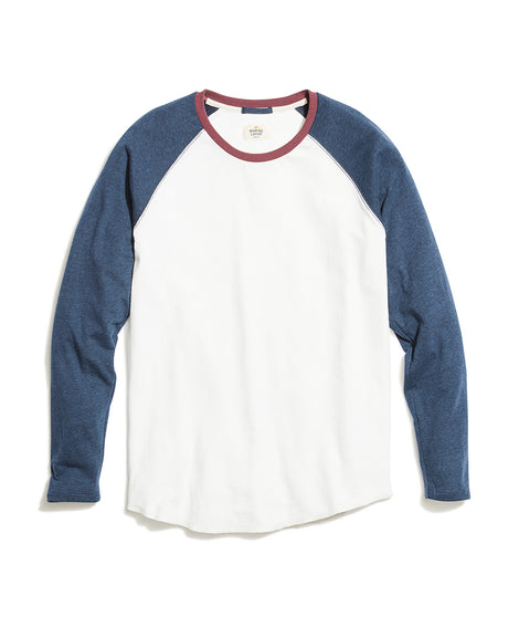 Double Knit Baseball Raglan in Natural/Navy