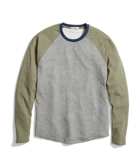 Double Knit Baseball Raglan in Light Heather Grey/Grapeleaf