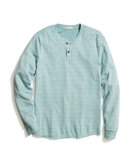 Double Knit Henley in Blue Surf/White Stripe