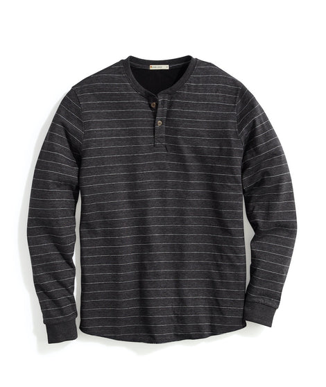 Double Knit Henley in Faded Black/White