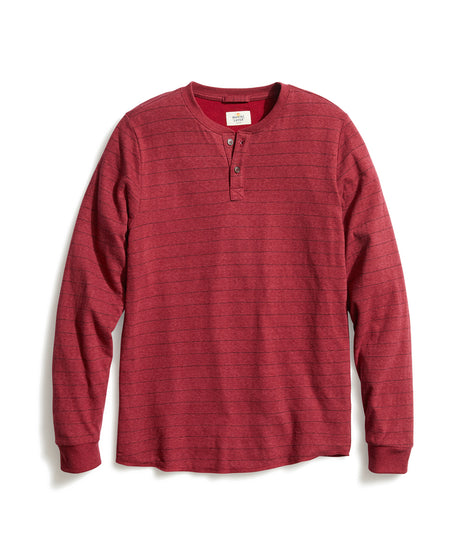 Double Knit Henley in Red/Navy Stripe