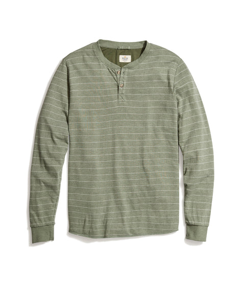 Double Knit Henley in Thyme/White Stripe