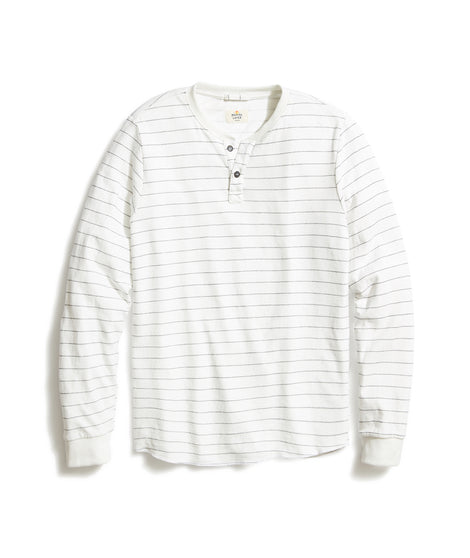 Double Knit Henley in Natural/Black Stripe