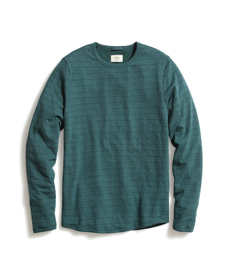 Double Knit Long Sleeve Crew in Green/Navy Stripe