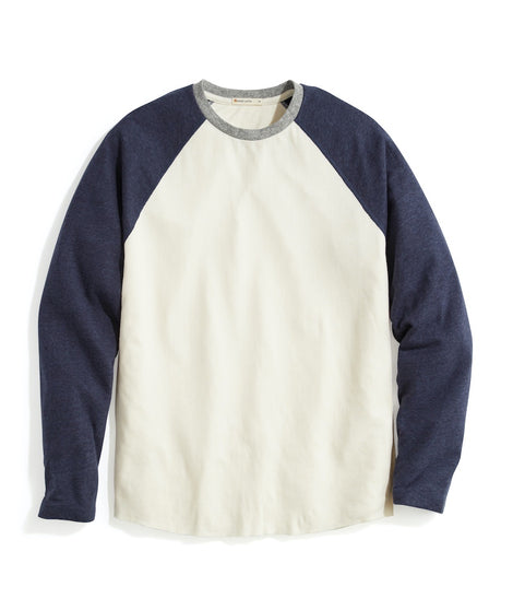 Double Knit Baseball Raglan in Natural/Navy/Heather Grey