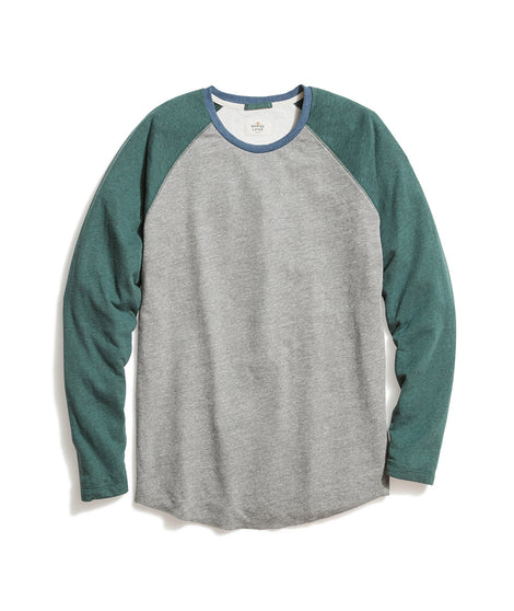 Double Knit Baseball Raglan in Heather Grey/Green Gables