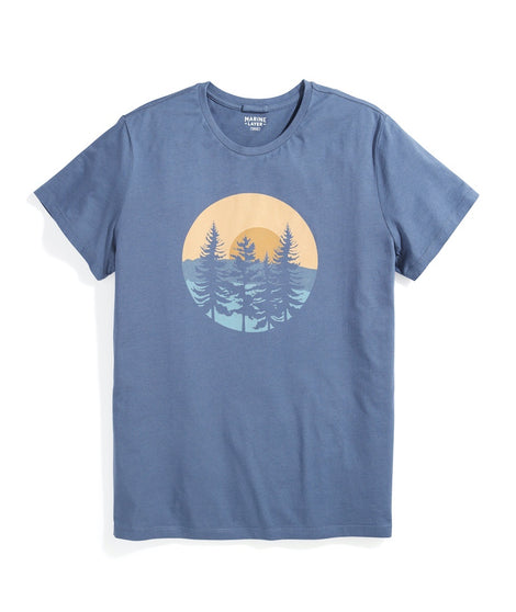 Signature Crew Graphic Tee in Vintage Indigo Trees