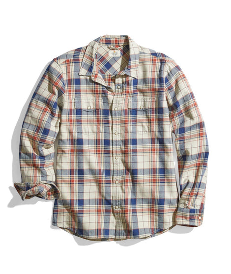 Indigo Western Shirt in Natural/Indigo Plaid