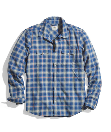 Indigo Western Shirt in Navy/Indigo Plaid