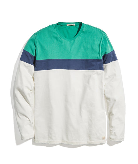 Jacob Long Sleeve Crew in Pine/Navy/Natural