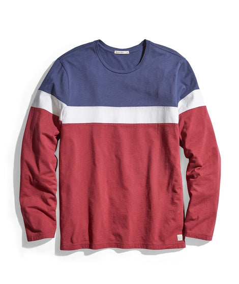 Jacob Long Sleeve Crew Tee in Navy/Natural/Cabernet