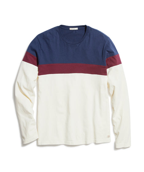 Jacob Pieced Crewneck in Black Iris/Tawny Port