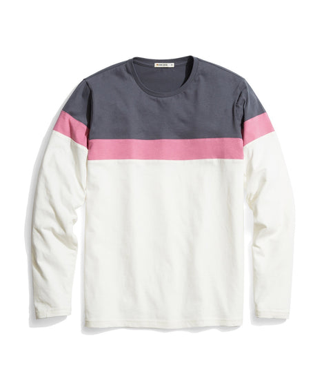 Jacob Pieced Crewneck in Magnet/Rose/Natural