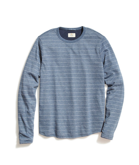 Double Knit Long Sleeve Crew in Mood Indigo/White Stripe