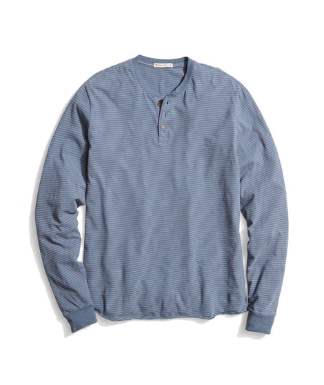 Lightweight Henley in Blue/White