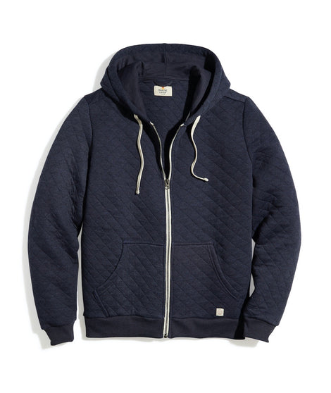 Corbet Quilted Hoodie in Navy Heather