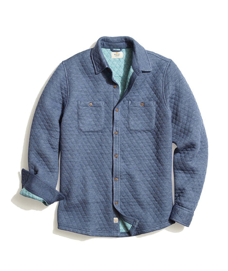 Filbert Quilted Overshirt in Navy/Surf Blue