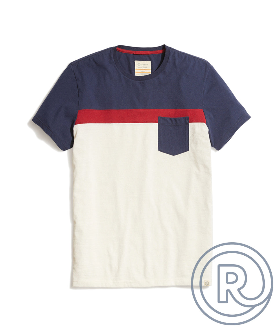 Re-Spun Pocket Tee in Natural/Blue Colorblock