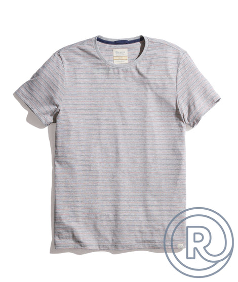 Re-Spun Stripe Crew in Heather Grey Multi Stripe