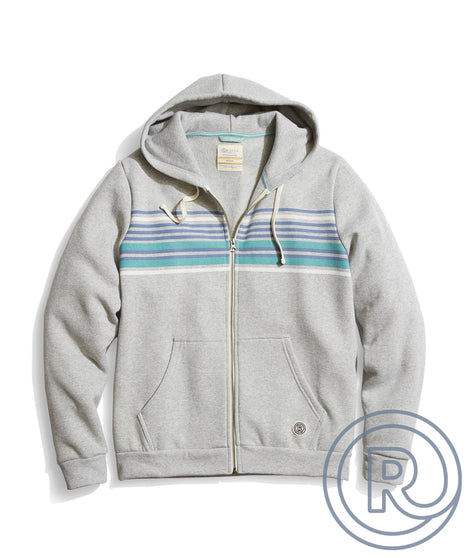 Re-Spun Striped Full Zip Hoodie laydown
