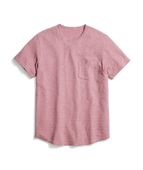 Saddle Pocket Tee in Heather Rose/Black Stripe
