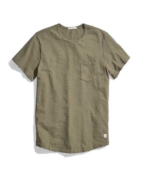 Saddle Pocket Tee in Thyme/White Stripe
