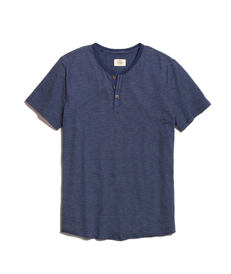 Short Sleeve Henley in Blue Stripe