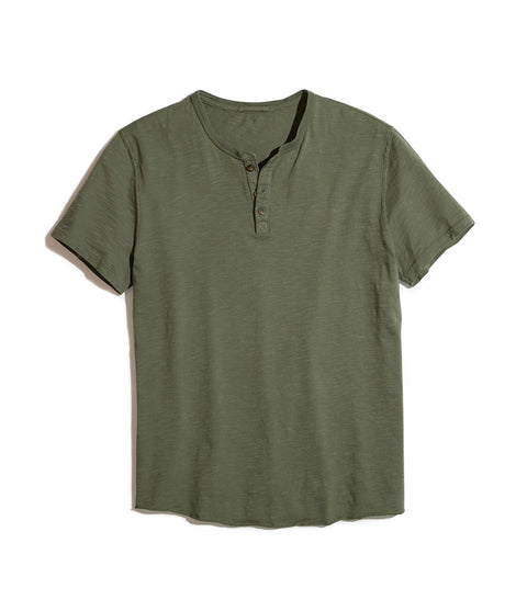 Short Sleeve Henley in Faded Thyme