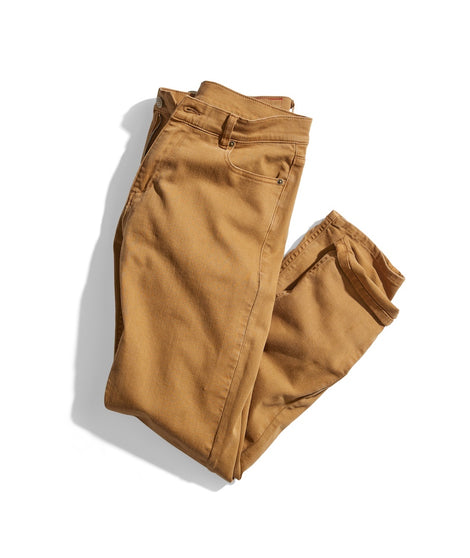 Slim Straight 5 Pocket Twill Pant in Deep Khaki
