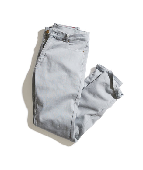 Slim Straight 5 Pocket Twill Pant in Light Grey
