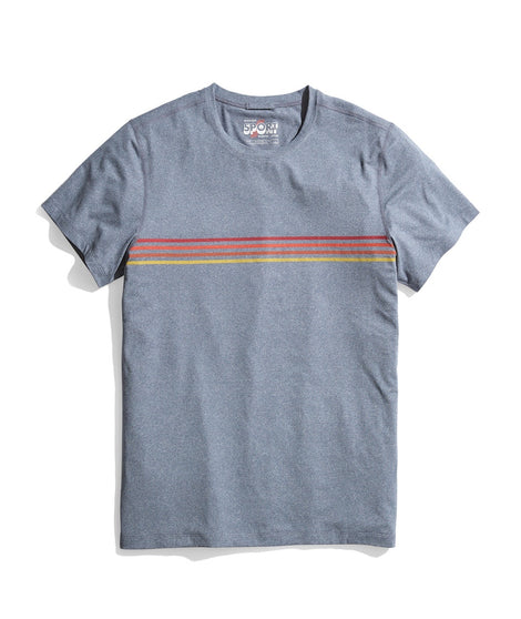 Sport Crew Tee in Navy Heather Stripe