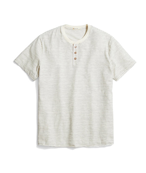 Short Sleeve Henley in Natural/Black Stripe