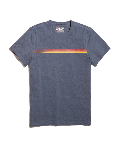 Sunset Stripe Sport Crew in Blue Heather