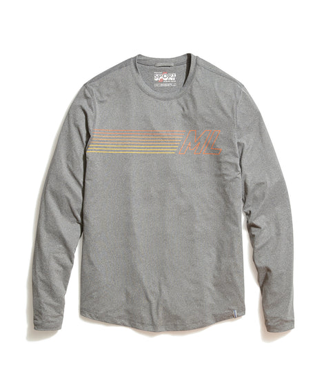 Long Sleeve ML Sport Crew in Anthracite Heather
