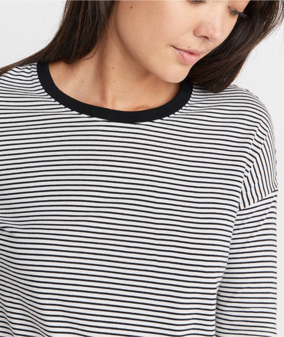 Merritt Crew in Black/White Stripe