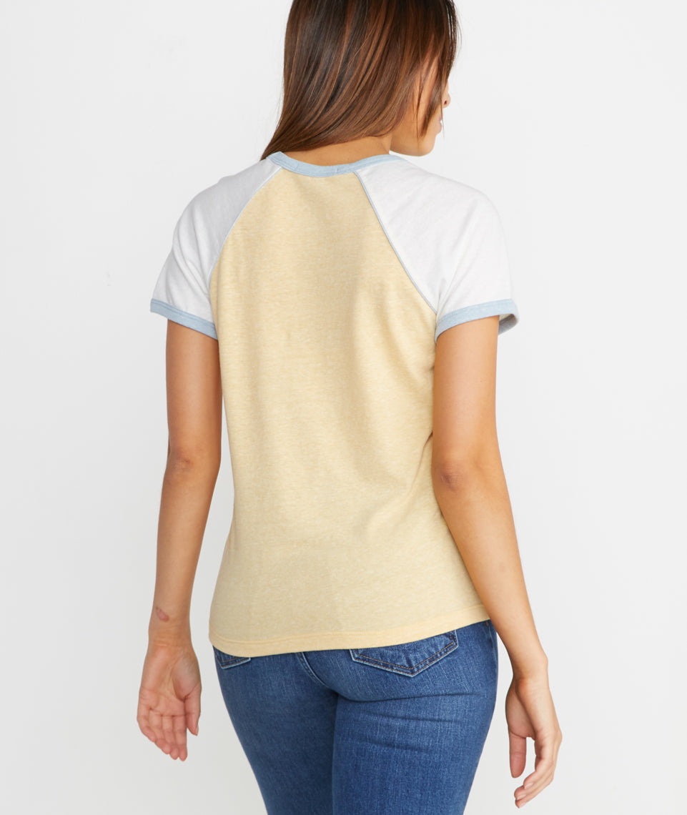 Mia Raglan Crew in Ochre/Antique White