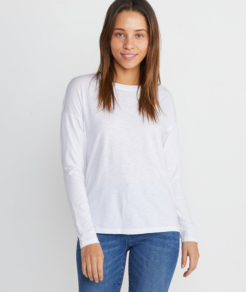 Mona Long Sleeve Crew in Blanc de blanc