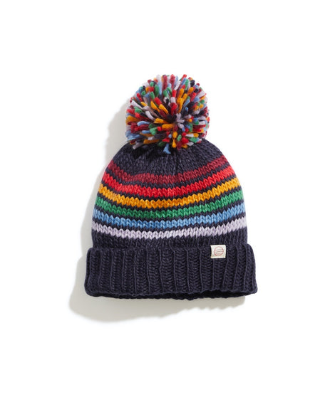 Donner Pom Beanie in Navy/Multi Stripe