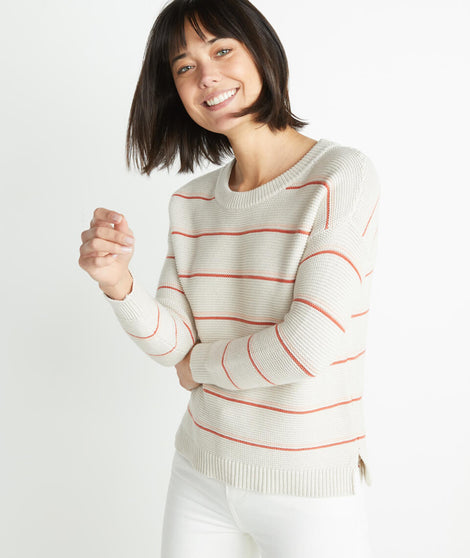 Nina Crewneck Sweater in Oatmeal Heather/Coral Gold