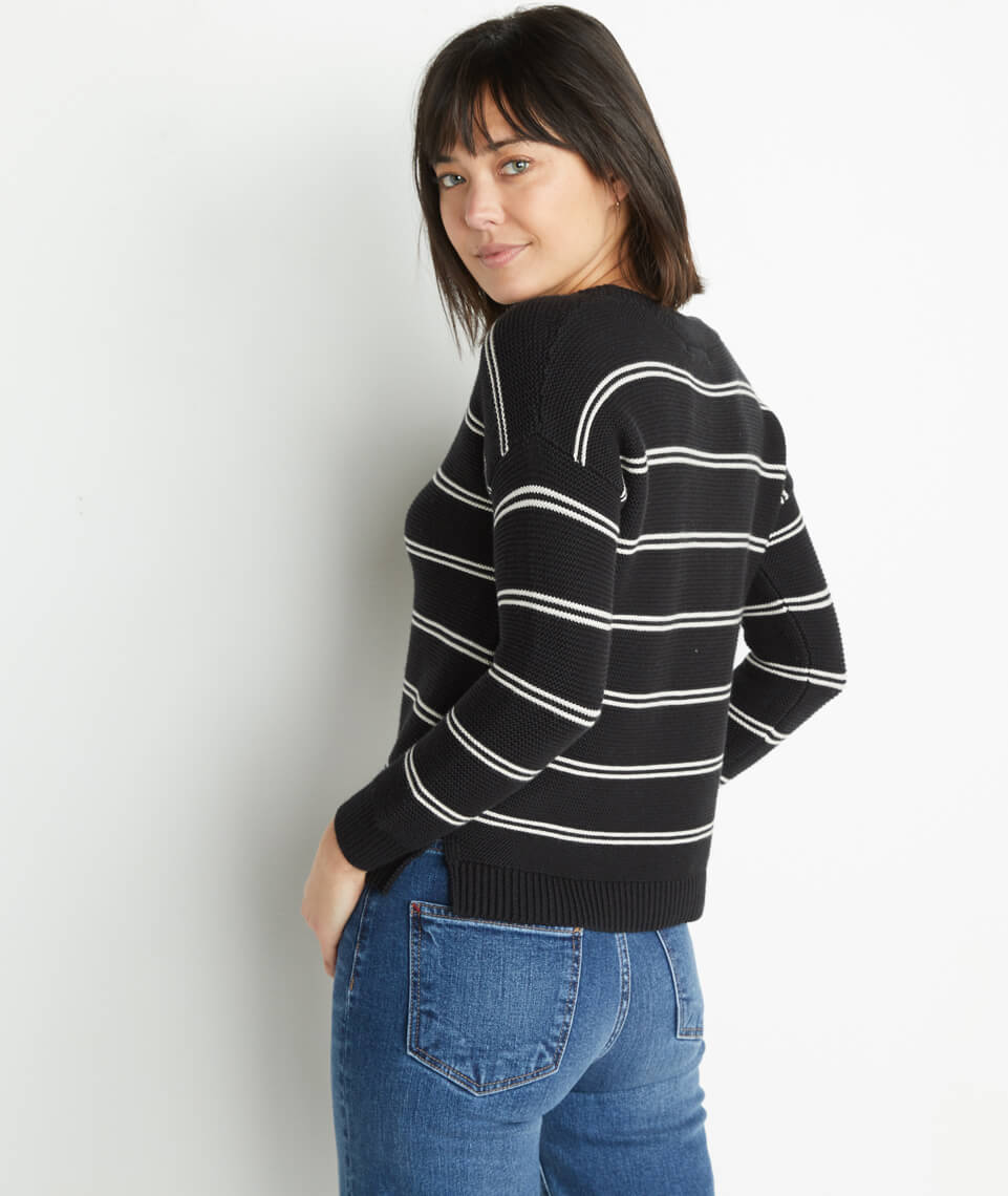 Nina Crewneck Sweater in Black/Oatmeal Heather