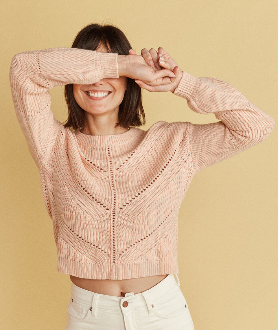 Olivia Crewneck Sweater in Rose Cloud