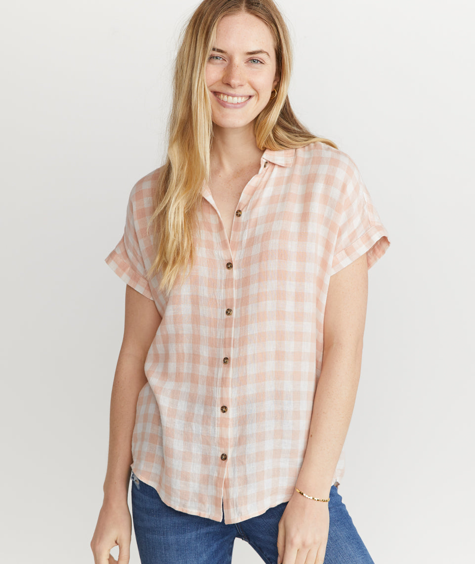 Paige Button Down in Rose Cloud Gingham
