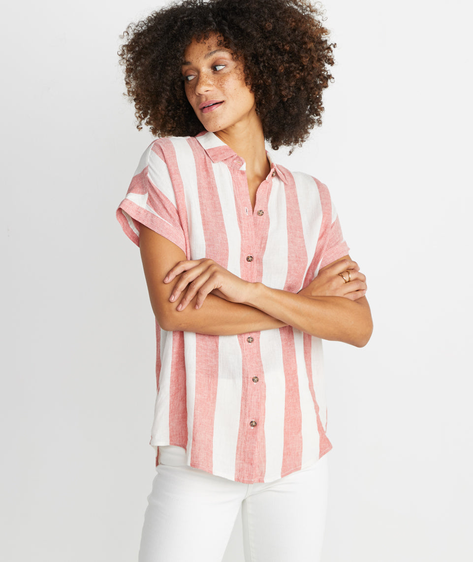 Paige Button Down in Baked Apple Stripe