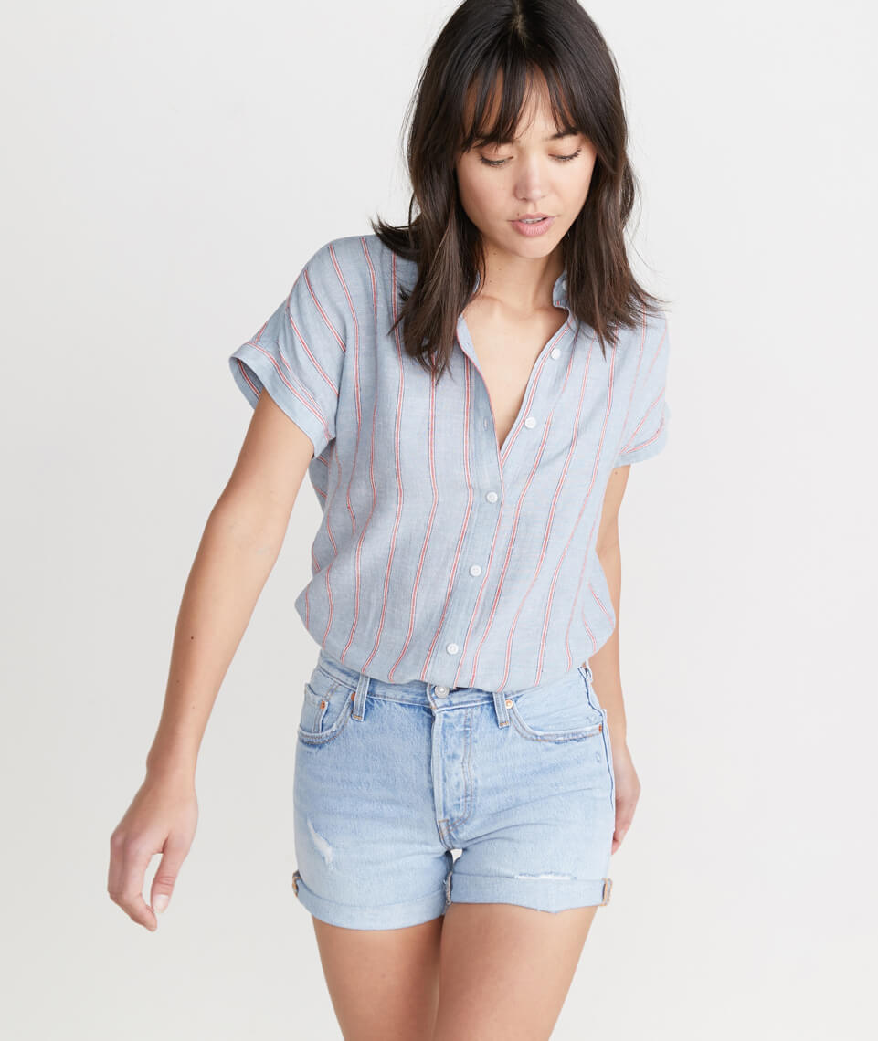 Paige Button Down in Ashley Blue