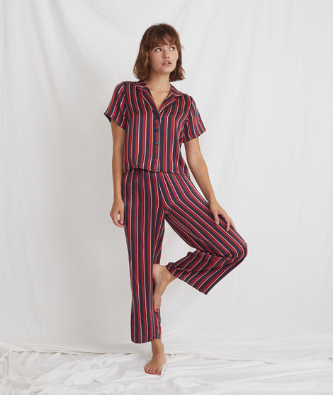 Washable Silk Wide Leg Pant in Multi Stripe