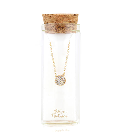 Kris Nations Round Pave Charm Necklace in Gold