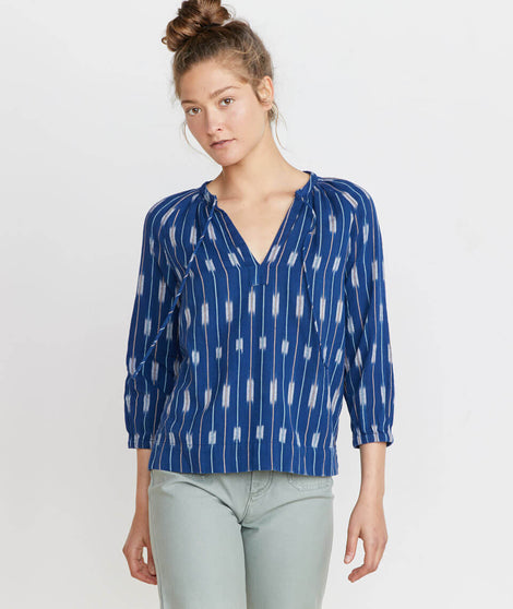 Penny Blouse in Blue Ikat